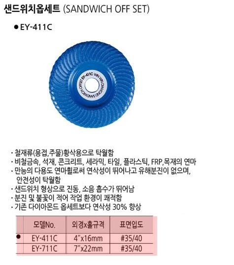 샌드위치옵세트 EY-411C (4인치*16mm) 윈윈다이아몬드 제조사의 공작기계/다이아몬드쏘 판매 및 가격 소개