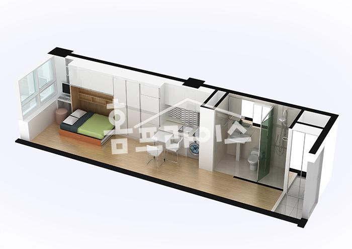 [평형별 원룸텔 인테리어] 6평, 7평, 8평 원룸텔 도면, 원룸 ...