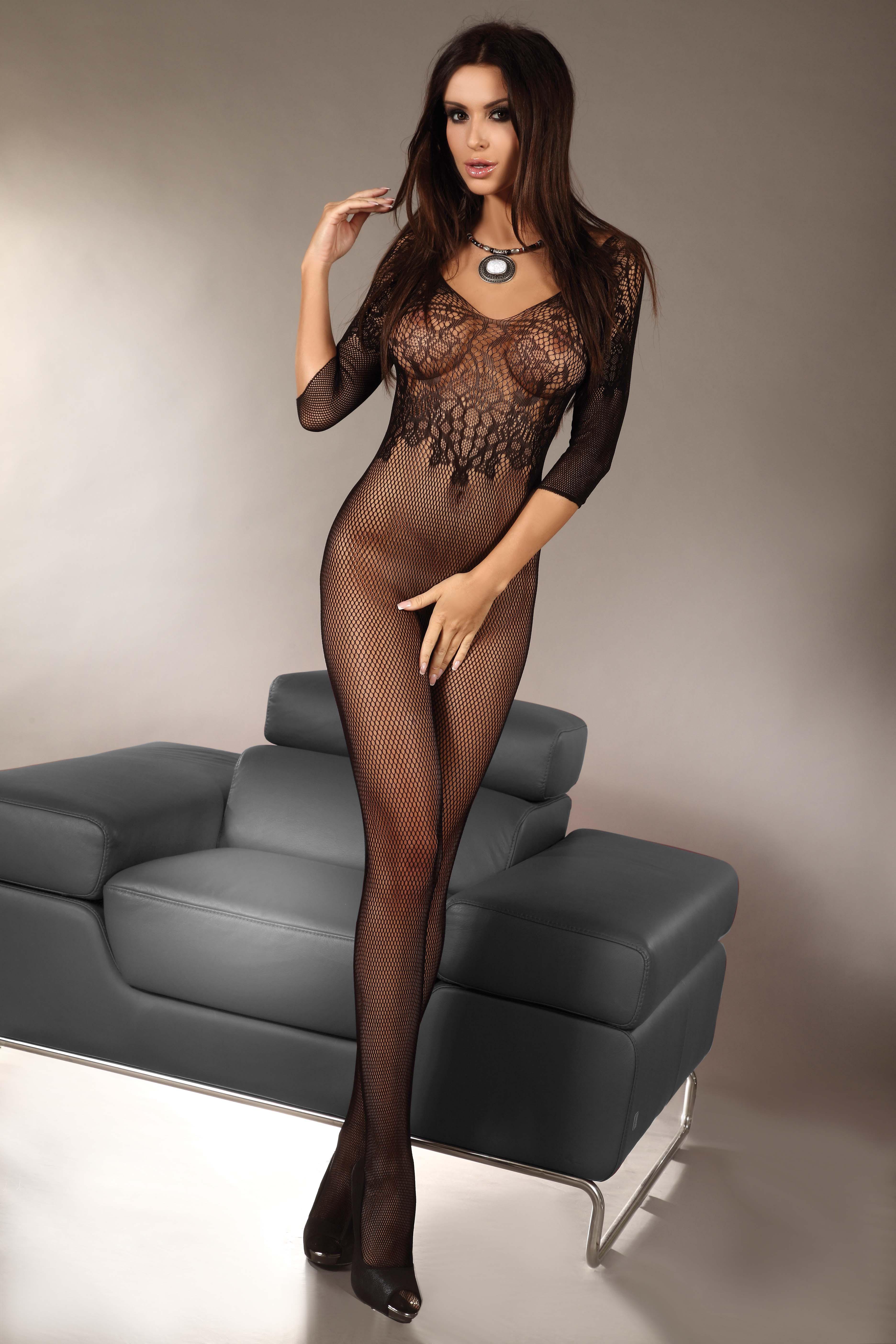 hot girl in mesh lingerie