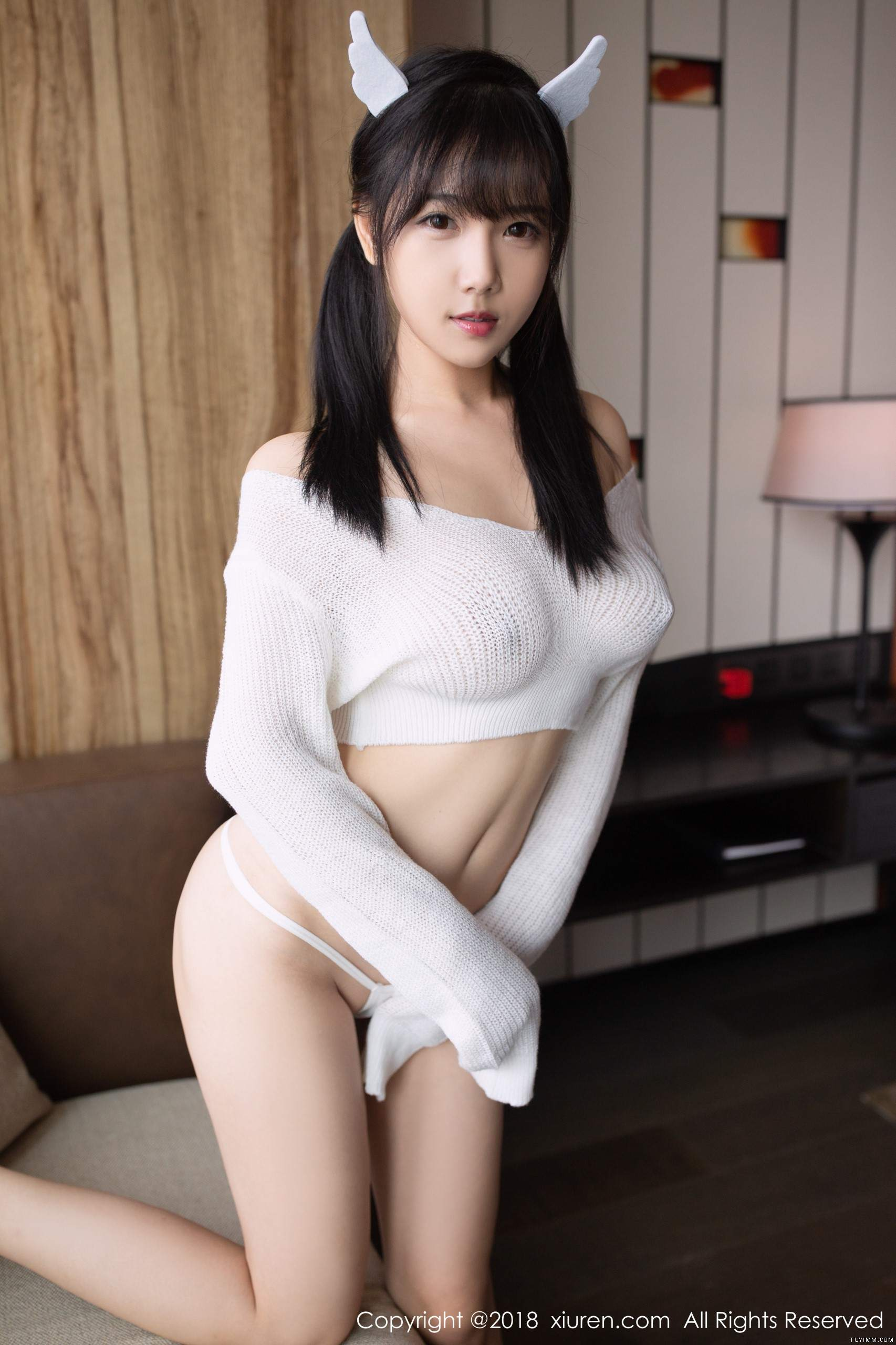 cool Chinese girl in transparent wearing